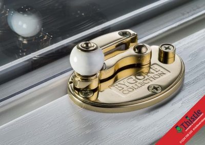 Sash Window Antique Brass Cam with Porcelain Ball
