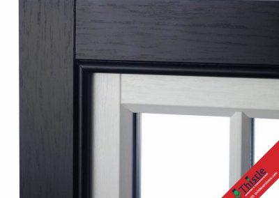 Sash Window Black White Corner Frame External View