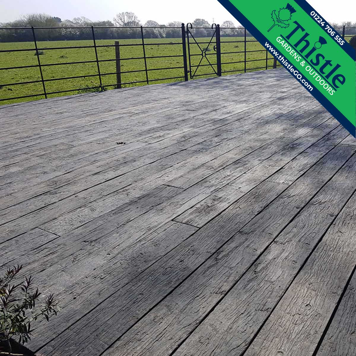 Weathered Oak Composite Decking in Embered Oak